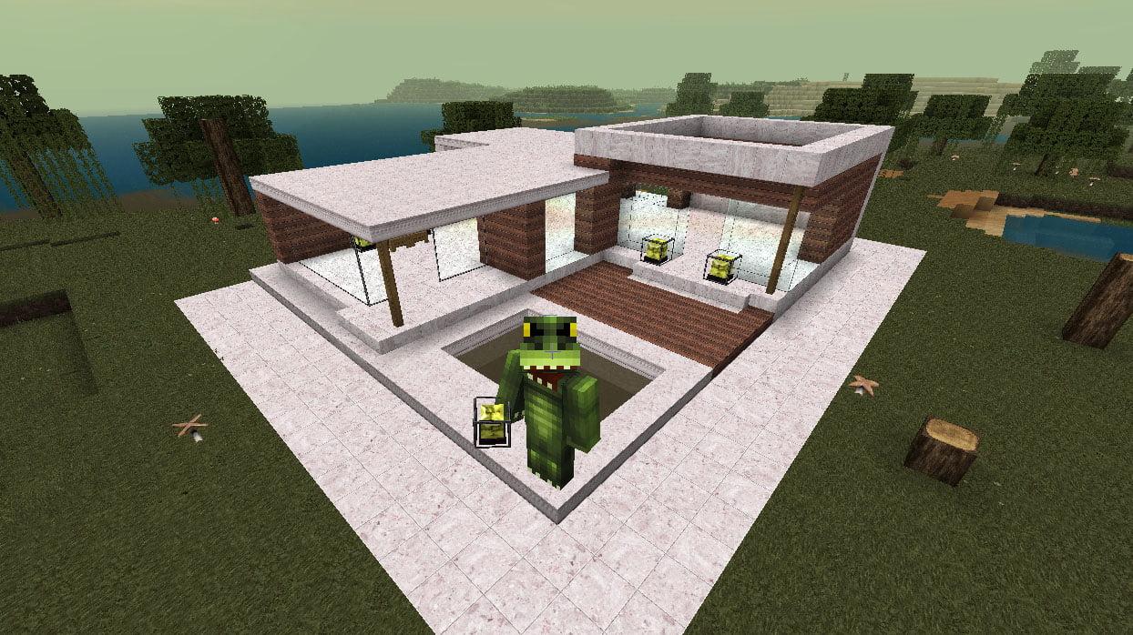 Hola que tal como la ultima vez les traemos los planos para una casa moderna en minecraft que se vera de maravilla esta casa solo tiene una planta a