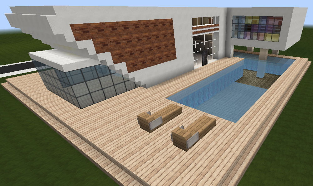 Minecraft huis modern house 473 inclusief map en schematic minecraft for free - Huis modern kubus ...