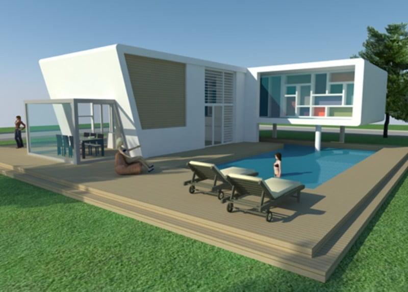 Minecraft huis modern house 473 inclusief map en schematic minecraft for free - Huis design met zwembad ...