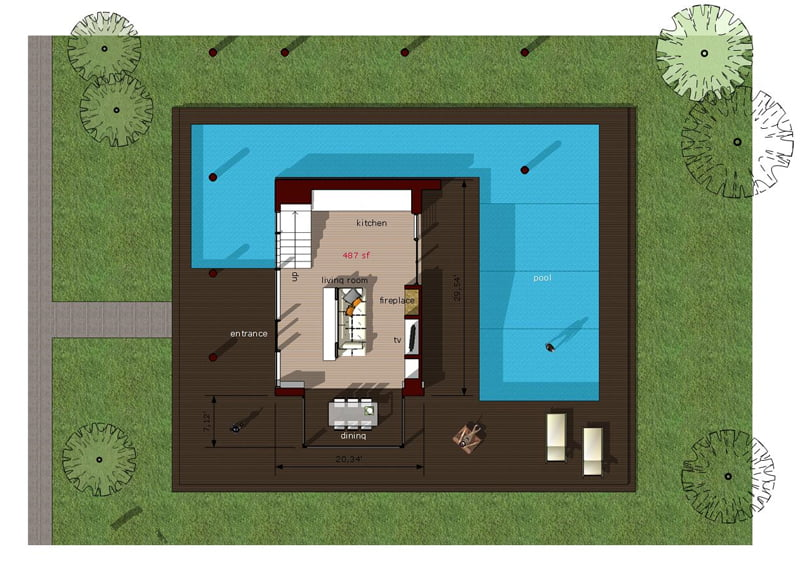 A Carriage House Plan For Retail And Residence in addition Floor Plans further Casestudy Of Falling Water besides Modern Rustic Cabin Retreat Lake Tahoe besides 13 Cool Rv Garage Plans With Living Quarters. on pool house with living quarters floor plans